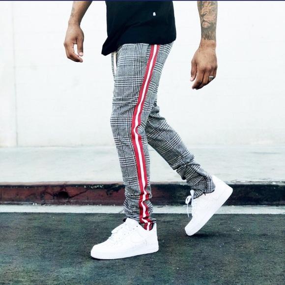 d986bab184ad4b EPTM Pants   Red Stripe Houndstooth Knit Slim Track Pant   Poshmark